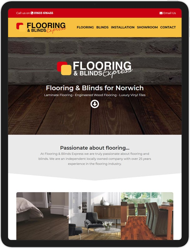 Flooring and Blinds Express one page website
