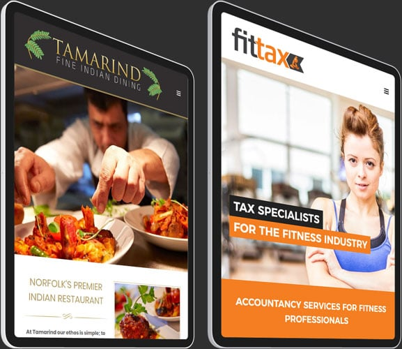 Two tablets showing example websites