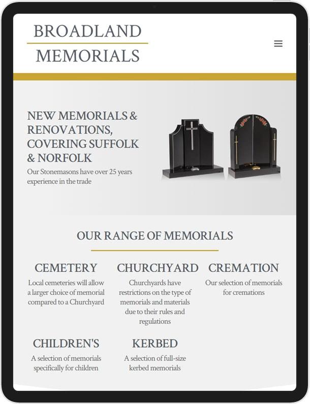 Website for Broadland Memorials