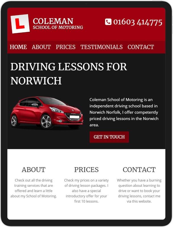 Website for Coleman School of Motoring