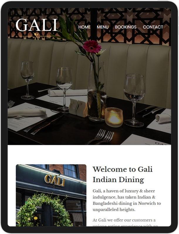 Website for Gali Indian Restaurant