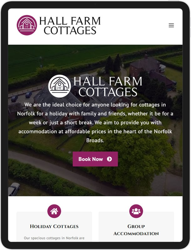 Wordpress Website For Hall Farm Cottages