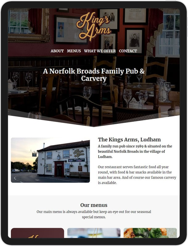 Kings Arms - One Page Website